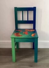 Child chair - wooden - hand painted - decoupaged- blue green - butterfly pattern
