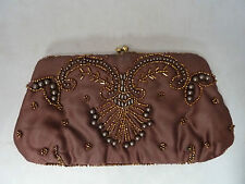 Vintage Delill Satin Beaded Brown Clutch Bag Coin Purse