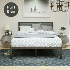 Full Size Metal Bed Frame Platform Upholstered Linen Headboard Furniture Gray