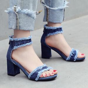 Womens Strappy Denim Zip Open Toe Block Heel Pumps Gladiator Sandals Party Shoes
