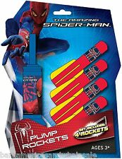 Marvel Amazing Spiderman 4 Pump Rockets With Launcher Foam Outdoor Toy Air