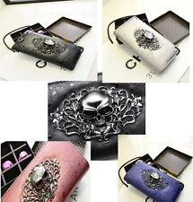 a84bb00df1388 Designer Portemonnaie Portmonee Geldbeutel Metall 3D Totenkopf Skull  Geldbörse