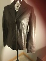 Womens Sonoma Life + Style Lambskin Leather Brown Jacket Size Small