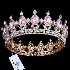 FUMUD Hot sale New Fashion Elegant Pink Crystal Bridal crown classic Gold Tiaras