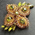 D&E JULIANA Vintage Amber Peridot Navette Rhinestone Flower Brooch Pin 50