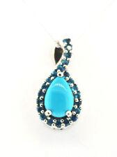 Arizona Sleeping Beauty Turquoise (Pear 1.00 Ct.) Malgache Neon Apatite Pendant
