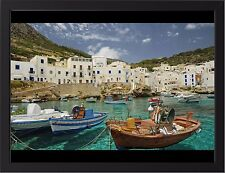 "SICILY ITALY A3 CANVAS GICLEE PRINT POSTER FRAMED 16.5/"" x 11.1/"""