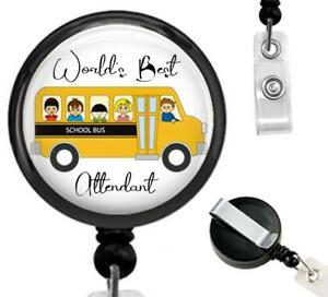 World's Best School Bus Attendant Id Badge Reel Retractable Work Id Holder Gift