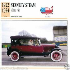 STANLEY STEAM SERIE 740 1922 1924 CAR VOITURE USA ETATS-UNIS CARTE CARD FICHE B