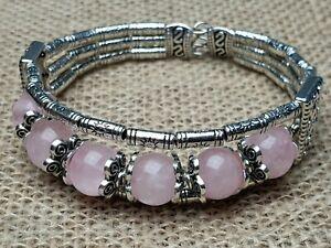 Armband Armreifen mehr-reihig antik Silber natürliche Rosenquarz Perlen flexibel