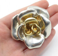925 Sterling Silver - Vintage Shiny Two Tone Sculpted Flower Brooch Pin - BP4576