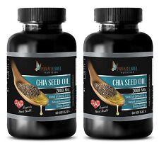 Chia Seed Oil 2000mg. Omega 3-6-9 Nutrition. Heart Health (2 Bottles)