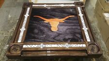 Texas Longhorn with your supplied initials Domino Table by Domino Tables by Art