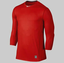 New Nike Pro Hypercool DRI-FIT Fitted Men's Lg 3/4 Sleeve Baseball Red Gray