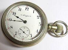 ANTIQUE 1899 ELGIN POCKET WATCH 18'S LEVER SET SILVER TONE CASE SILVERODE RUNS