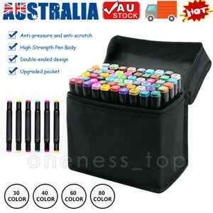 30/40/60/80 Marker Pen Set Dual Heads Graphic Artist Craft Sketch Copic Markers
