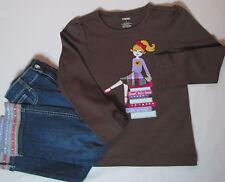 NWT Gymboree Sunflower Smiles 2-Pc Set Sz 5 Jeans Ribbon Cuffs Brown Girl Top