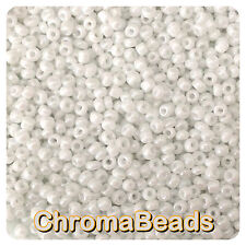100g WHITE OPAQUE LUSTERED glass seed beads- choose size 6/0 8/0 11/0 (4, 3, 2mm