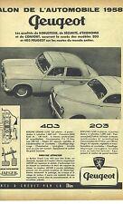 PUBLICITE ADVERTISING 1958    PEUGEOT salon de l'automobile 403 203