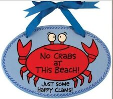 Our Name is Mud Red Crab Ceramic Plaque Happy Clams Nib Beach Decor 4017350
