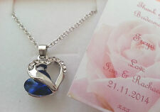 Thank You Gift Necklace Heart Personalised Bridesmaid Flower Girl Present Royal Blue
