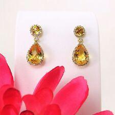 14 K Yellow Gold Checkerboard Cut Citrine & Diamond Halo Fancy Earrings 7.15 ctw