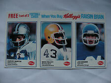 1982 Kellogg's Raisin Bran 3 panel Martin-Pruitt-Senser  NFL Football
