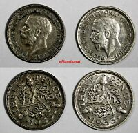 Great Britain George V (1910-1936) Silver LOT OF 2 COINS 1933 3 Pence KM# 832
