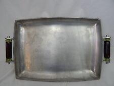 "Rare Lenox Metal Serveware Lg 18"" Rectangular Serving Tray W/Glass Bead Handles"