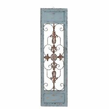 "Metal Gate Wall Decor 58"" distressed white shabby metal wood wall decoration panel"