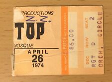 1974 Zz Top Tres Hombres Tour Syria Mosque Pittsburgh Concert Ticket Stub