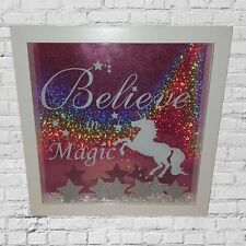 ****OFFER**** Personalised Cute 3D Sparkly Picture Box Frame Unicorn Magic Pink