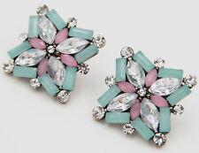 Long Ear Stud Hoop earrings 282 Woman's Multi Crystal Rhinestone Silver Plated