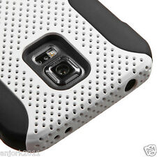 SAMSUNG GALAXY S5 ACTIVE G870A HYBRID MESH CASE SKIN COVER WHITE BLACK