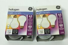 GE LIGHTING HALOGEN BRIGHT CRISP LIGHT A19 GENERAL PURPOSE BULBS(2) 43WATTS