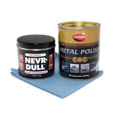 Nevr Dull Polierwatte + 750 ml Edel Chrom Metall Politur Autosol + Poliertuch