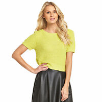 LADIES BRIGHT YELLOW SHORT SLEEVE SOFT TOUCH JUMPER IN SIZES 12 TO 22 BNWT