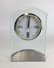 Howard Miller Tribeca Aluminum Beveled Clear Glass Table Clock With Alarm EUC