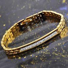 Womens Clear Crystal Bracelet 18K yellow Gold Filled Mens Watch Chain Bracelet