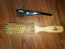 Kent LS1 Boar Bristle Brush & Cleaner - Made in England, Very Nice Condition