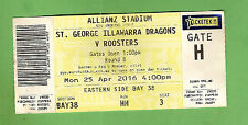 #D199. USED  2016  RUGBY LEAGUE TICKET - ST GEORGE ILLAWARRA V ROOSTERS