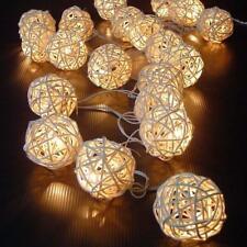 20 WARM WHITE Wicker Rattan Ball LPK String Fairy Light Lantern Wedding Party PK