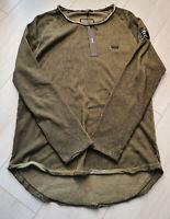 Tigha Herren Dünner Pullover Mowie Vintage Oily Green Größe M