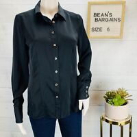 Brooks Brothers Womens Silk Shirt Top Blouse Stretchy Button Front Black Size 6