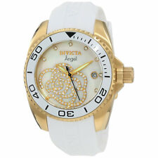 Invicta 0488 Women's Angel Cubic Zirconia MOP Dial Rubber Band Gold Tone Watch