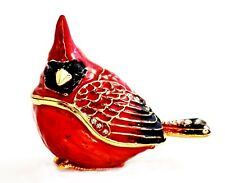 Small Cardinal Trinket Box. Hand Painted Red Enamel with Swarovski Crystals