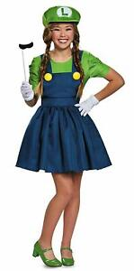 Luigi Girl Super Mario Brothers Nintendo Fancy Dress Up Halloween Adult Costume