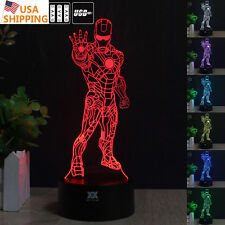 Avengers Infinity War Iron Man 3D Acrylic LED Night Light Touch Desk Table Lamp