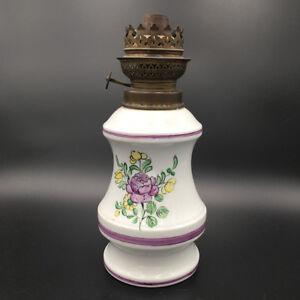 Ancienne Lampe a Pétrole Bouquet de Fleurs Faïence - Oil Lamp Vintage