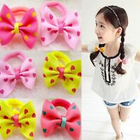 Children Kids Printing Hair Tie Rope Sweet Dot Ponytail Holder Bow-knot